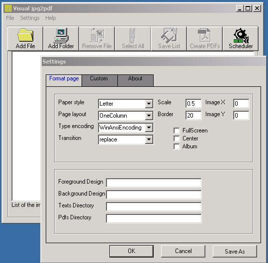 Screenshot of jpg2pdf